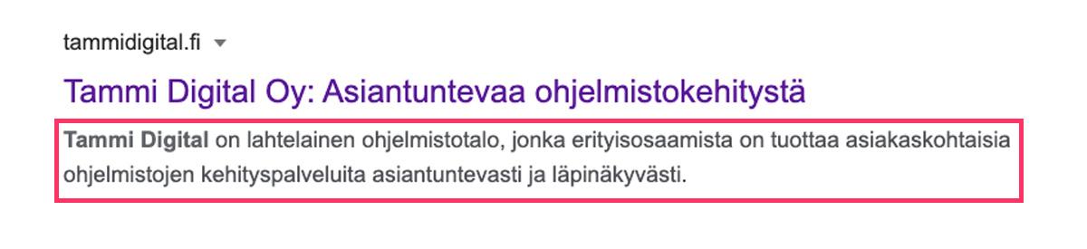 Esimerkki Google-haussa näkyvästä metaotsikosta ja metakuvauksesta