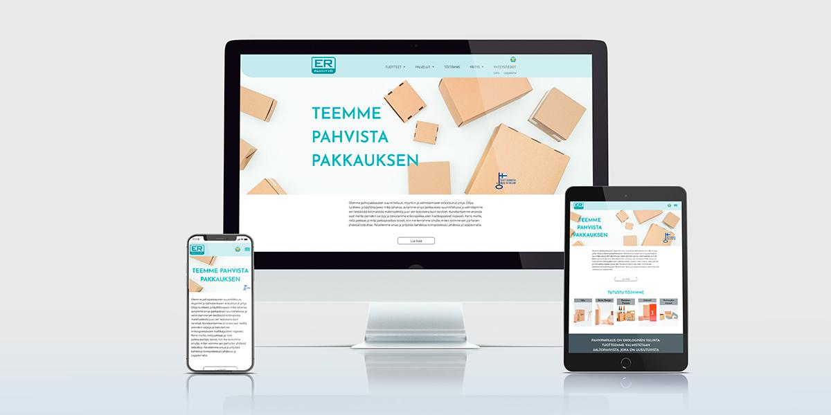Tammi Digitalin toteuttamat ER-Pahvityön verkkosivut erilaisilla näytöillä.