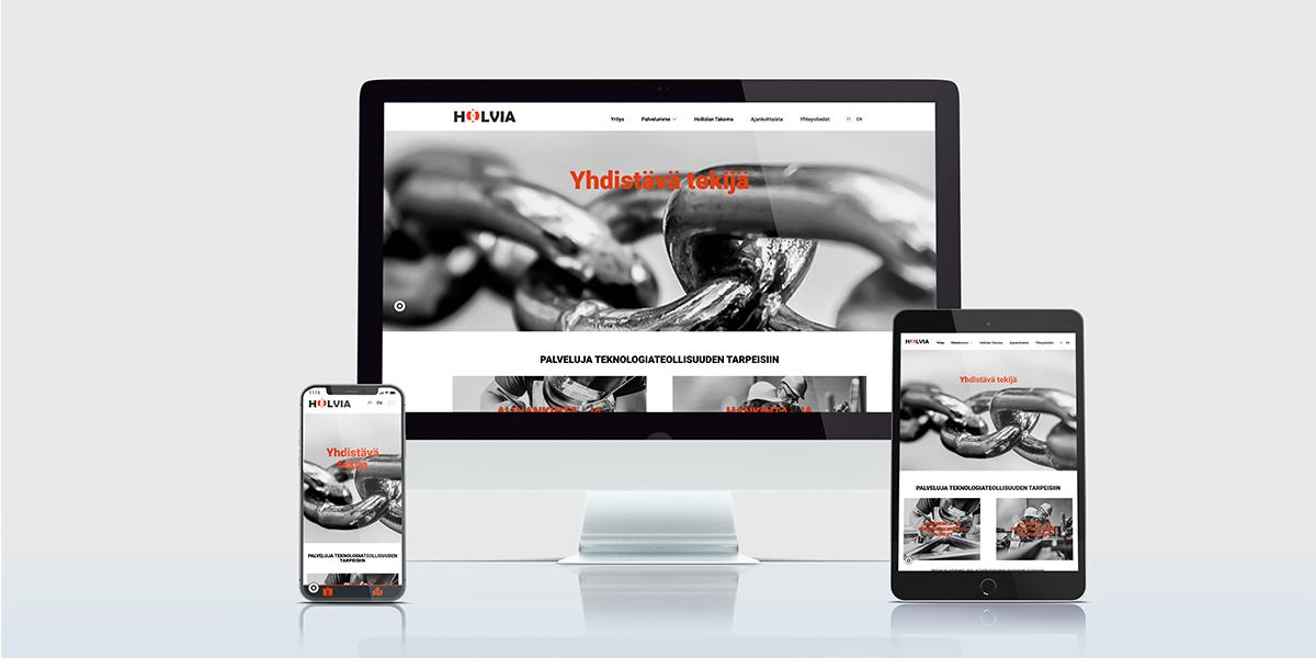 Tammi Digitalin toteuttaman Holvian sivusto erilaisilla päätelaitteille